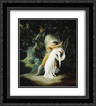 Celadon and Amelia 20x22 Black or Gold Ornate Framed and Double Matted Art Print by William Hamilton