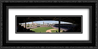 Wrigley Field 24x12 Black or Gold Ornate Framed and Double Matted Art Print by Stadium Series