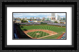 Wrigley Field 24x16 Black or Gold Ornate Framed and Double Matted Art Print by Stadium Series