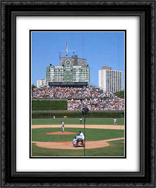 Wrigley Field 20x24 Black or Gold Ornate Framed and Double Matted Art Print by Stadium Series
