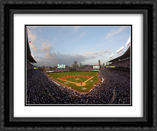 Wrigley Field 24x20 Black or Gold Ornate Framed and Double Matted Art Print by Stadium Series