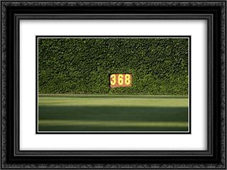 Wrigley Field Ivy 24x18 Black or Gold Ornate Framed and Double Matted Art Print by Stadium Series