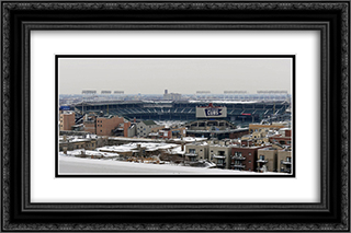 Wrigley Field in Winter 24x16 Black or Gold Ornate Framed and Double Matted Art Print by Stadium Series