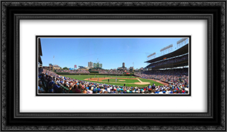 Wrigley Field 24x14 Black or Gold Ornate Framed and Double Matted Art Print by Stadium Series