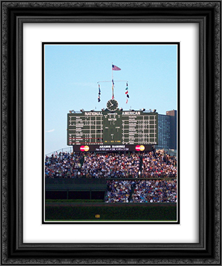 Wrigley Field Scoreboard 20x24 Black or Gold Ornate Framed and Double Matted Art Print by Stadium Series
