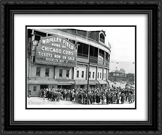 Wrigley Field Vintage 24x20 Black or Gold Ornate Framed and Double Matted Art Print by Stadium Series
