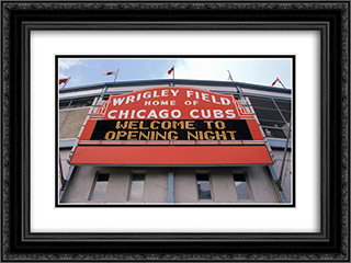 Wrigley Field 24x18 Black or Gold Ornate Framed and Double Matted Art Print by Stadium Series