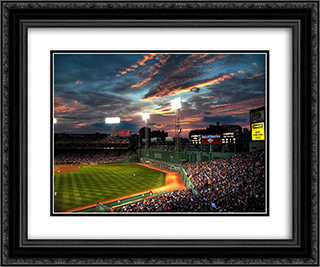 Fenway Park 24x20 Black or Gold Ornate Framed and Double Matted Art Print by Stadium Series