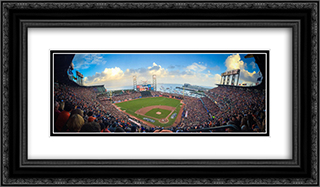 AT&T Park 24x14 Black or Gold Ornate Framed and Double Matted Art Print by Stadium Series