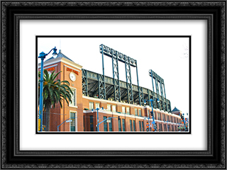AT&T Park 24x18 Black or Gold Ornate Framed and Double Matted Art Print by Stadium Series