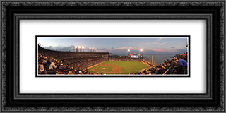 AT&T Park 24x12 Black or Gold Ornate Framed and Double Matted Art Print by Stadium Series