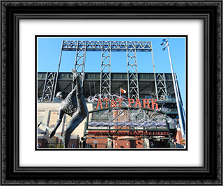 AT&T Park 24x20 Black or Gold Ornate Framed and Double Matted Art Print by Stadium Series