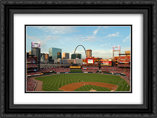 Busch Stadium 24x18 Black or Gold Ornate Framed and Double Matted Art Print by Stadium Series