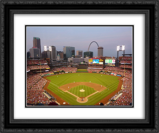 Busch Stadium 24x20 Black or Gold Ornate Framed and Double Matted Art Print by Stadium Series