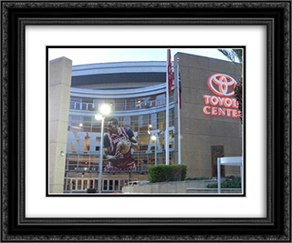 Toyota Center 24x20 Black or Gold Ornate Framed and Double Matted Art Print by Stadium Series