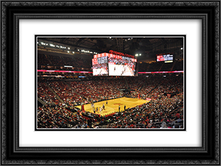 Toyota Center 24x18 Black or Gold Ornate Framed and Double Matted Art Print by Stadium Series