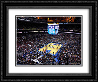 Wells Fargo Center 24x20 Black or Gold Ornate Framed and Double Matted Art Print by Stadium Series