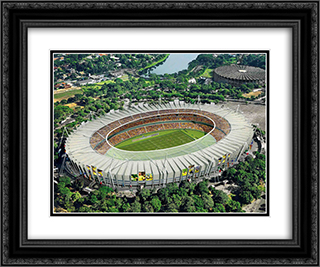 Mineirao Stadium 24x20 Black or Gold Ornate Framed and Double Matted Art Print by Stadium Series