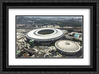 Maracana Stadium 24x18 Black or Gold Ornate Framed and Double Matted Art Print by Stadium Series