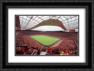San Paolo Stadium 24x18 Black or Gold Ornate Framed and Double Matted Art Print by Stadium Series