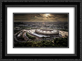 Mineirao Stadium 24x18 Black or Gold Ornate Framed and Double Matted Art Print by Stadium Series