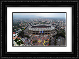 Azteca Stadium 24x18 Black or Gold Ornate Framed and Double Matted Art Print by Stadium Series