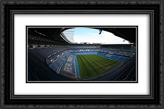 Real Madrid Stadium 24x16 Black or Gold Ornate Framed and Double Matted Art Print by Stadium Series