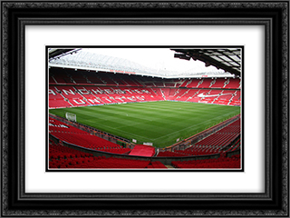 Manchester United Old Trafford 24x18 Black or Gold Ornate Framed and Double Matted Art Print by Stadium Series