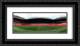 Manchester United Old Trafford 24x14 Black or Gold Ornate Framed and Double Matted Art Print by Stadium Series