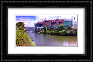 Manchester United Old Trafford 24x16 Black or Gold Ornate Framed and Double Matted Art Print by Stadium Series