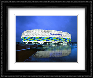 The Allianz Arena 24x20 Black or Gold Ornate Framed and Double Matted Art Print by Stadium Series
