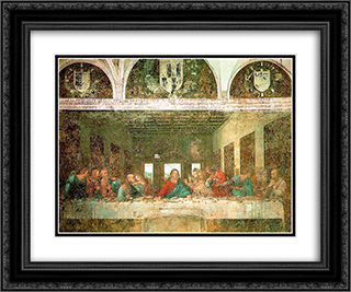 The Last Supper - After Restoration 24x20 Black or Gold Ornate Framed and Double Matted Art Print by Leonardo Da Vinci