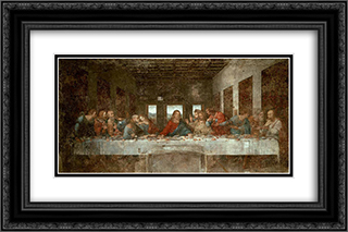 The Last Supper - Before Restoration 24x16 Black or Gold Ornate Framed and Double Matted Art Print by Leonardo Da Vinci