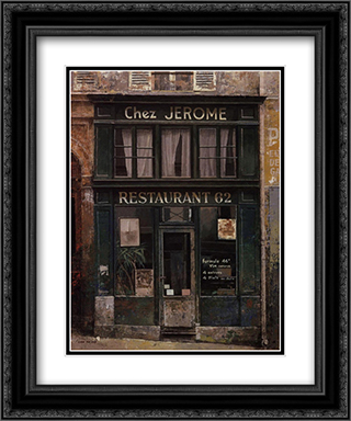 Chez Jerome 2x Matted 11x13 Black Ornate Framed Art Print by Chiu tak Hak