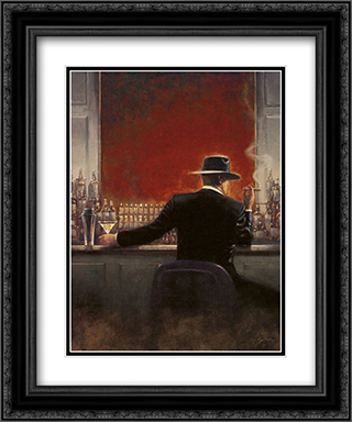 Cigar Bar 2x Matted 11x13 Black Ornate Framed Art Print by Brent Lynch
