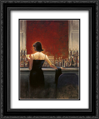 Evening Lounge 2x Matted 11x13 Black Ornate Framed Art Print by Brent Lynch