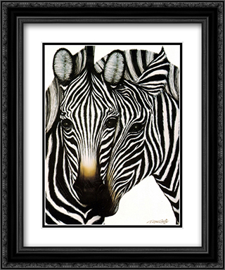 Zebras 2x Matted 15x18 Black Ornate Framed Art Print by Dexter Griffin