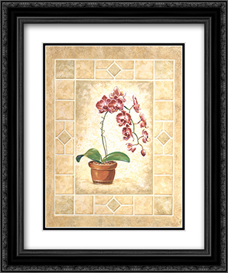Orchid Blossoms I 2x Matted 15x18 Black Ornate Framed Art Print by Anita S Bice