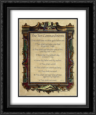 Ten Commandments 2x Matted 15x18 Black Ornate Framed Art Print
