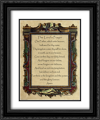 Lord's Prayer 2x Matted 15x18 Black Ornate Framed Art Print