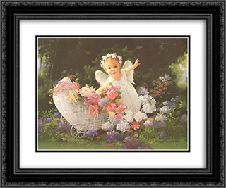 Baby Angel (Sm) 2x Matted 15x18 Black Ornate Framed Art Print by Joyce Birkenstock