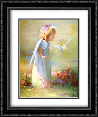 Baby Angel IV 2x Matted 15x18 Black Ornate Framed Art Print by Joyce Birkenstock