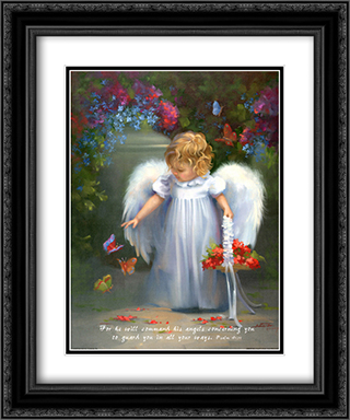 Baby Angel X W/Verse 2x Matted 15x18 Black Ornate Framed Art Print by Joyce Birkenstock