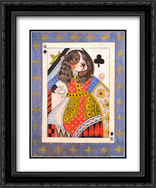 Spaniel Queen of Clubs 2x Matted 15x18 Black Ornate Framed Art Print by Kari Phillips