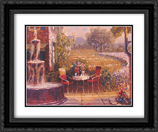 Cool Tuscan Breeze 2x Matted 16x14 Black Ornate Framed Art Print by Leland Beaman