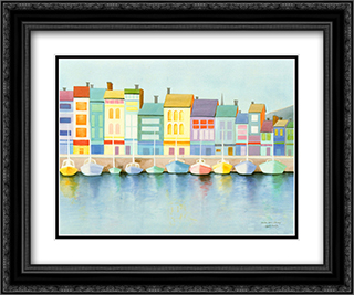 Harbor In Harmony 2x Matted 18x15 Black Ornate Framed Art Print by Elizabeth Horowitz