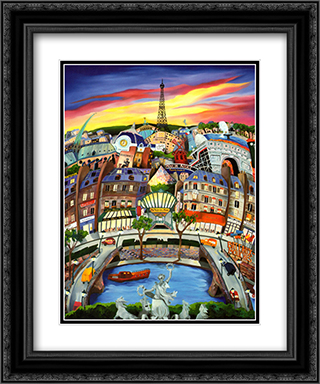 April in Paris 2x Matted 15x18 Black Ornate Framed Art Print by Linnea Pergola