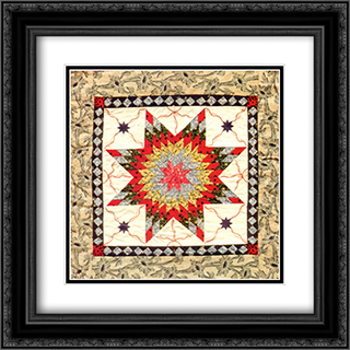 Stars And Ribbons 2x Matted 15x18 Black Ornate Framed Art Print by Kate Adams