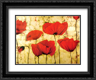 Poppies II 2x Matted 15x18 Black Ornate Framed Art Print by Dana Del Castillo