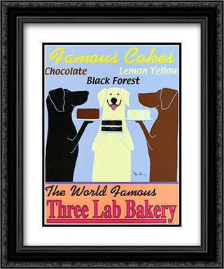 Three Lab Bakery 2x Matted 15x18 Black Ornate Framed Art Print by Ken Bailey